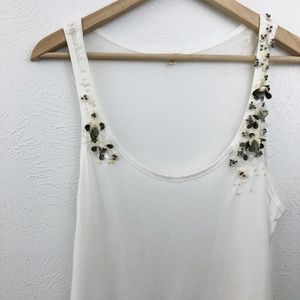 J. Crew Floral Sequin Applique Raw Hem Tank